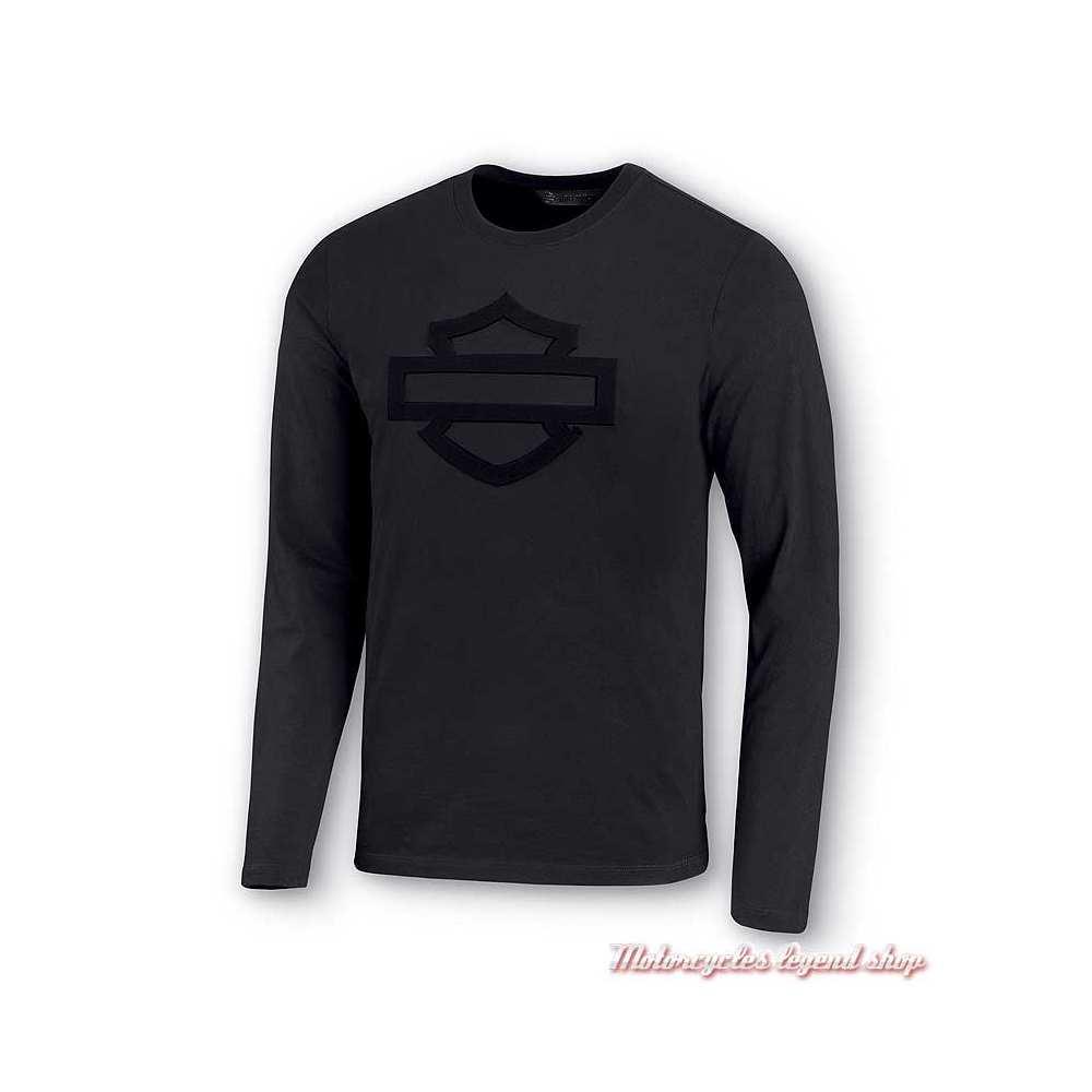 Tee-shirt Logo Bar & Shield Harley-Davidson homme, noir, manches longues, coton, 99028-20VM