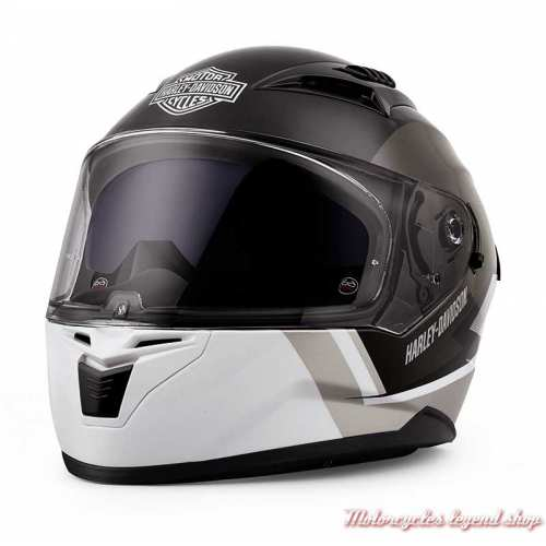 Casque intégral Killian Harley-Davidson, noir et blanc, écran solaire, 98115-20VX