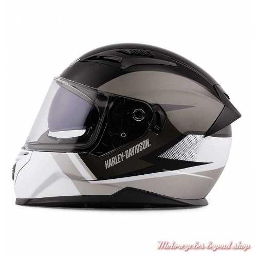 Casque intégral Killian Harley-Davidson, noir et blanc, écran solaire, gauche, 98115-20VX