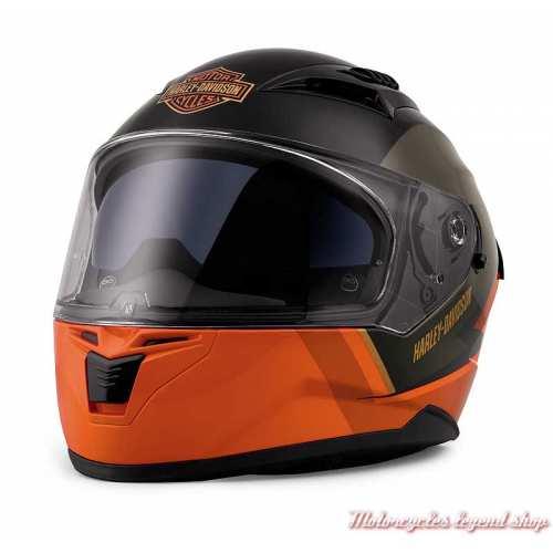 Casque intégral Killian Harley-Davidson, noir et orange, écran solaire, 98114-20VX