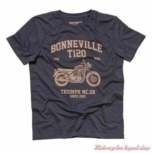Tee-shirt Fitton Triumph Bonneville homme, noir, manches courtes, coton, MTSA19205