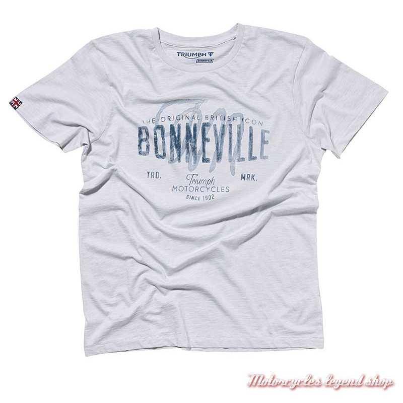 Tee-shirt Monty Triumph Bonneville homme, bleu ciel, manches courtes, coton, MTSA19206