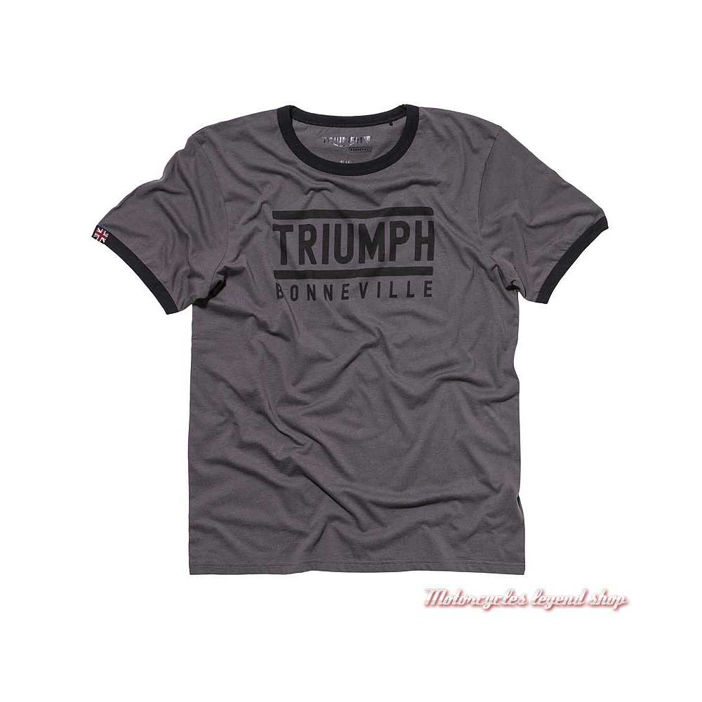 Tee-shirt Carl Triumph Bonneville homme, marron, manches courtes, coton, MTSA19207