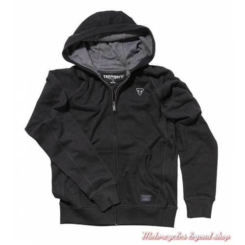 Sweatshirt zippé Heckles Triumph homme, capuche, noir, coton, MSWA19103