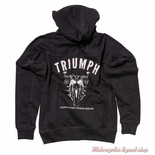 Sweatshirt zippé Heckles Triumph homme, capuche, noir, coton, dos, MSWA19103
