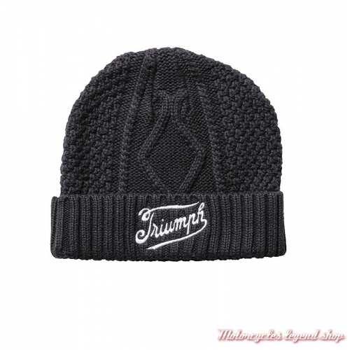 Bonnet Triumph, noir, tricot, coton, brodé, MHAA19417