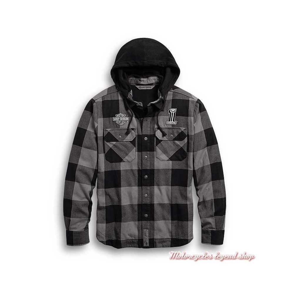 Chemise carreaux à capuche amovible Harley-Davidson homme, noir et gris, coton, 99007-20VM