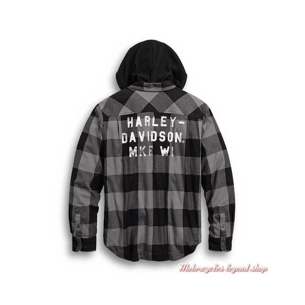 Chemise carreaux à capuche amovible Harley-Davidson homme, noir et gris, coton, dos, 99007-20VM