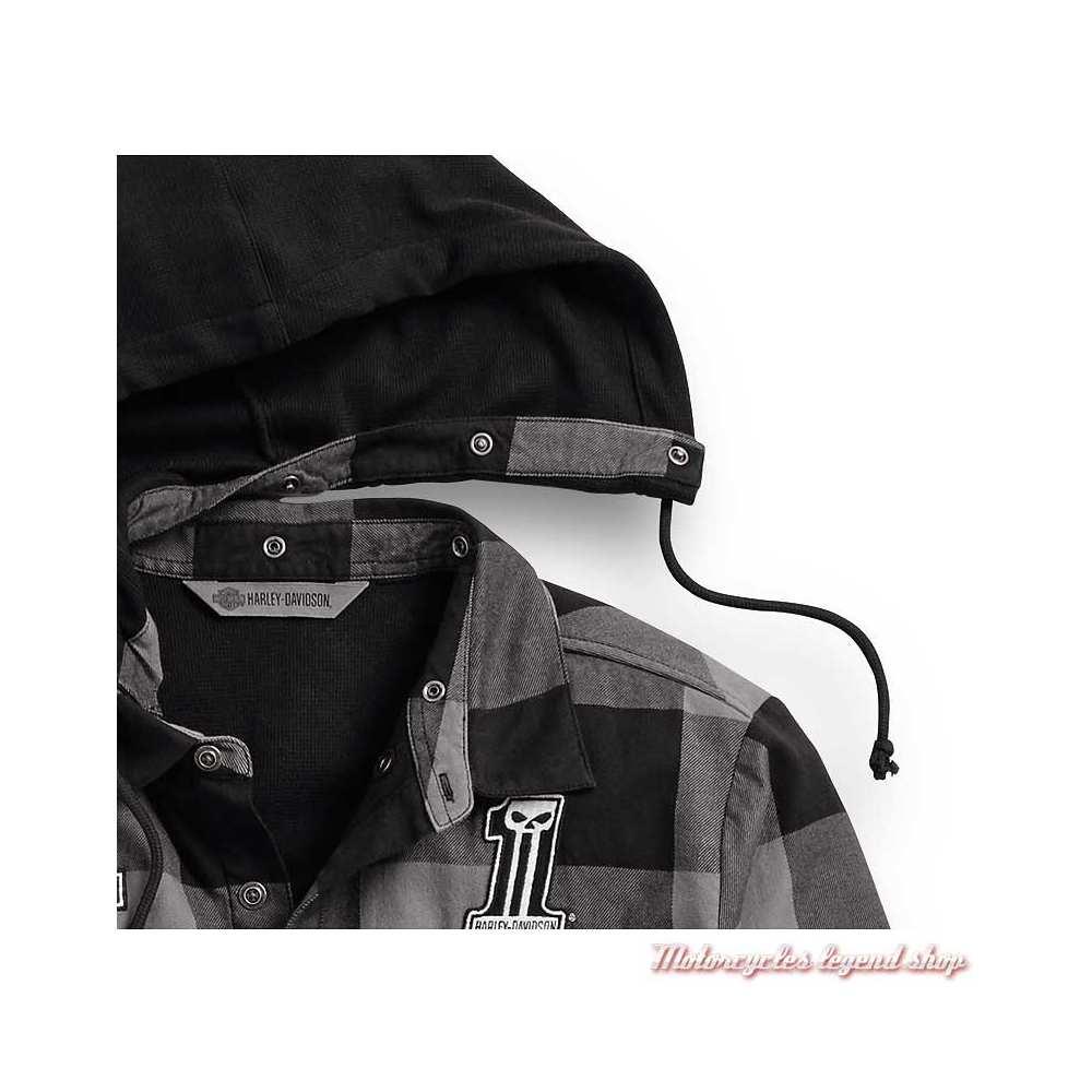 Chemise carreaux à capuche amovible Harley-Davidson homme, noir et gris, coton, capuche, 99007-20VM