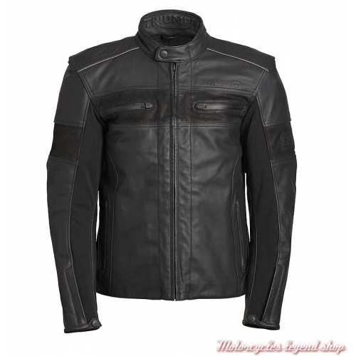 Blouson cuir Zora Gore-Tex Triumph homme, noir, MLPS19103