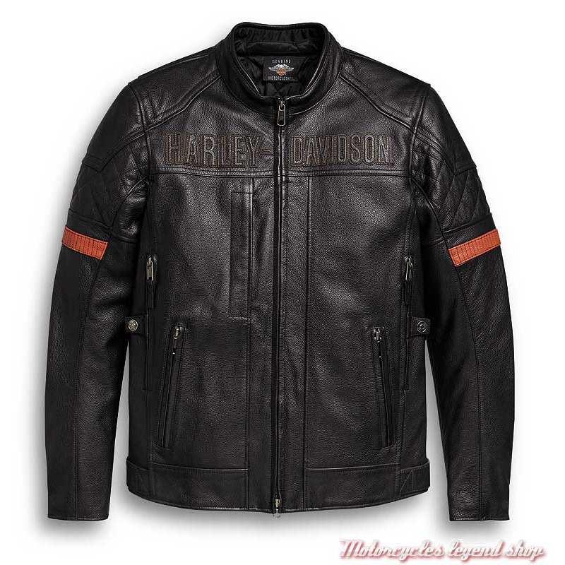 Blouson cuir Vanocker Harley-Davidson homme, noir, waterproof, triple vent, 98000-20EM