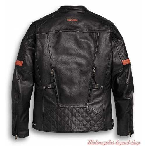 Blouson cuir Vanocker Harley-Davidson homme, noir, waterproof, triple vent, dos, 98000-20EM