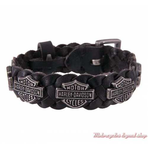 Bracelet cuir tressé Bar & Shield Harley-Davidson homme, noir, HDMCU11386-BLK