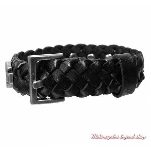 Bracelet cuir tressé Bar & Shield Harley-Davidson homme, noir, dos, HDMCU11386-BLK