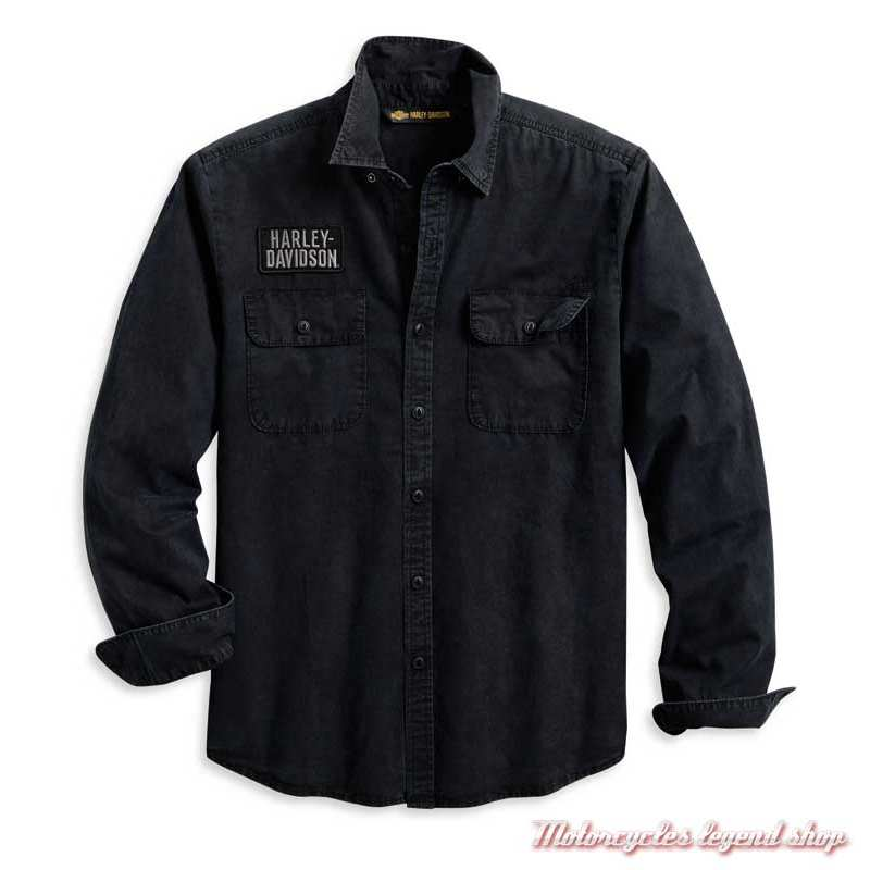 Chemise Motorcycle Harley-Davidson homme, noir, coton, manches longues, 96110-20VM