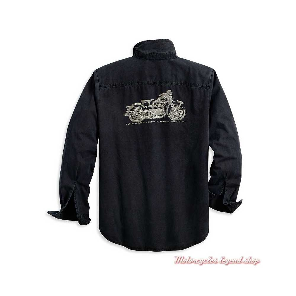 Chemise Motorcycle Harley-Davidson homme, noir, coton, manches longues, dos, 96110-20VM