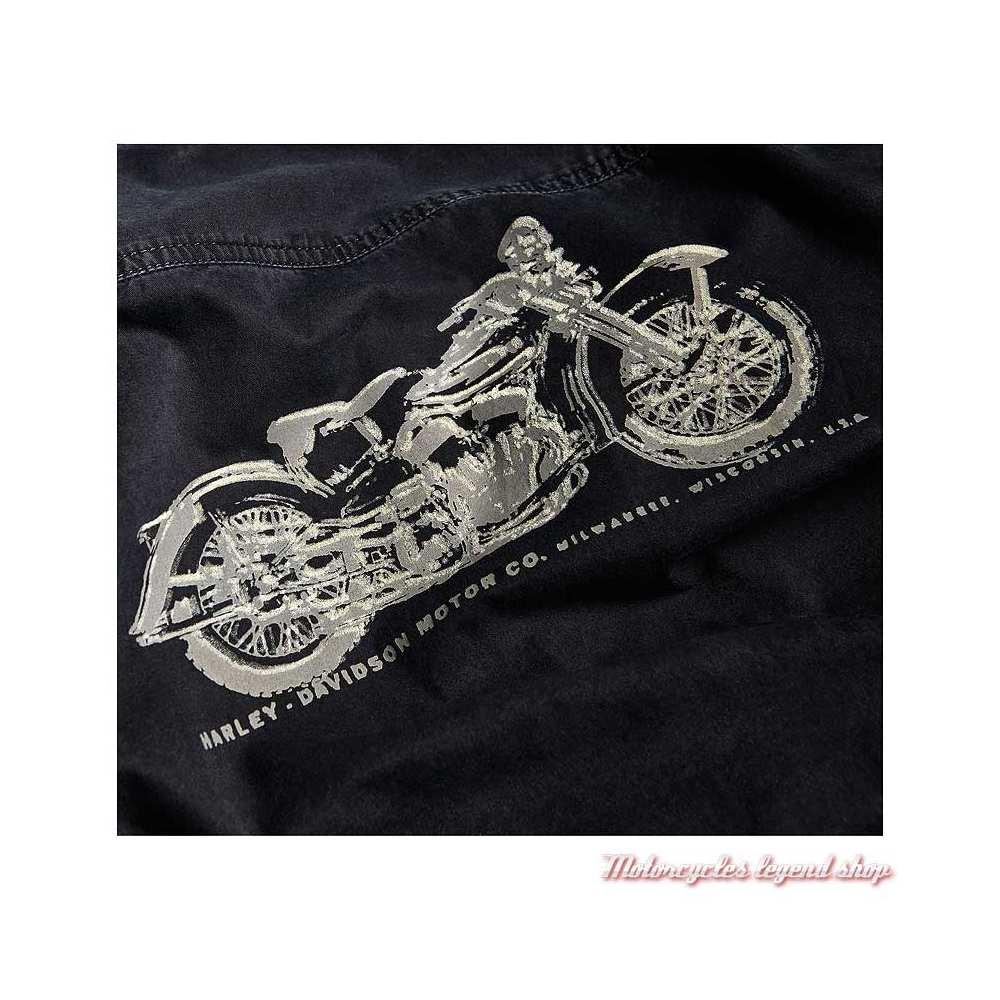 Chemise Motorcycle Harley-Davidson homme, noir, coton, manches longues, détail dos, 96110-20VM