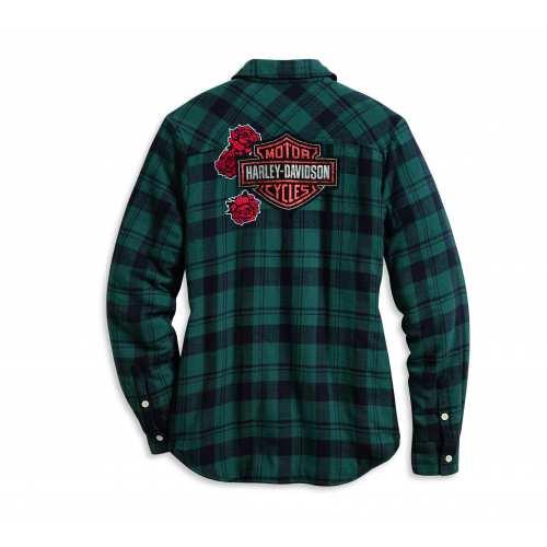 Chemise à carreaux Sherpa Harley-Davidson femme, noir et vert, dos, 96165-20VW