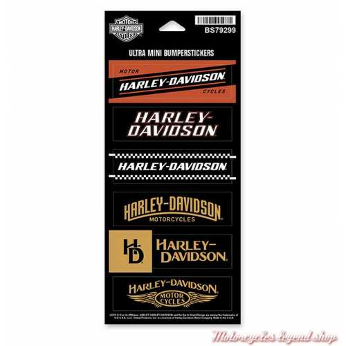 6 Mini Stickers Harley-Davidson, noir, doré, orange, BS79299