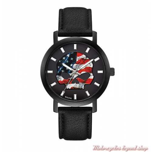 Montre Skul drapeau U.S.A. Harley-Davidson homme, bracelet cuir noir, 78A122
