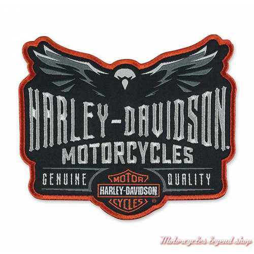 Patch Eagle Velocity Harley-Davidson, brodé, noir, gris, orange, EM326642