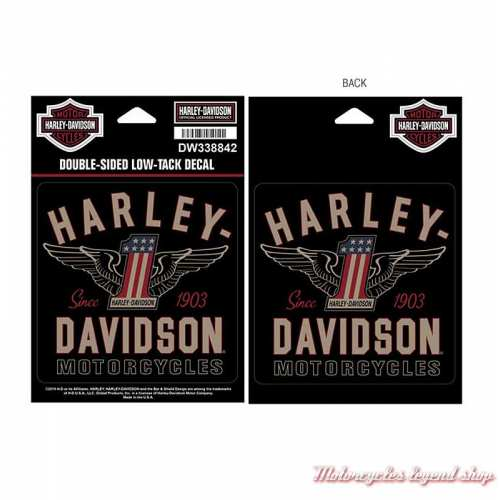 Stickers de vitre One U.S ailé Harley-Davidson, double face, DW338842