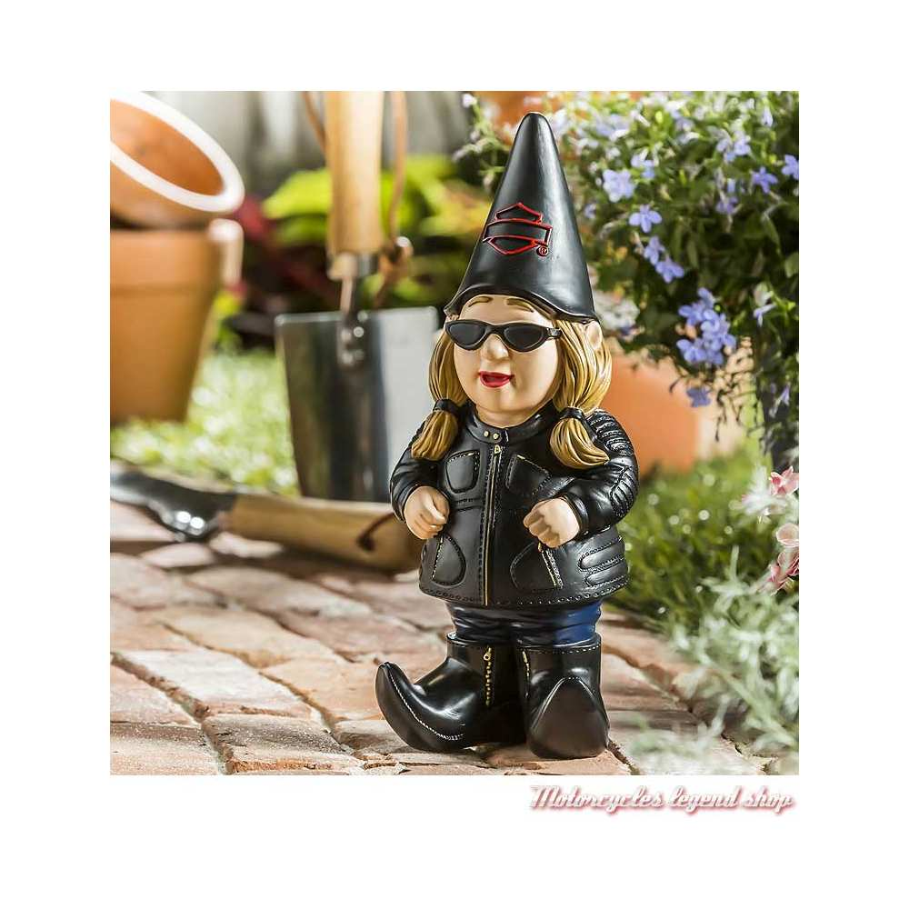 Gnomette de jardin Harley-Davidson Bikeuse, 28 cm, visuel, 544902C
