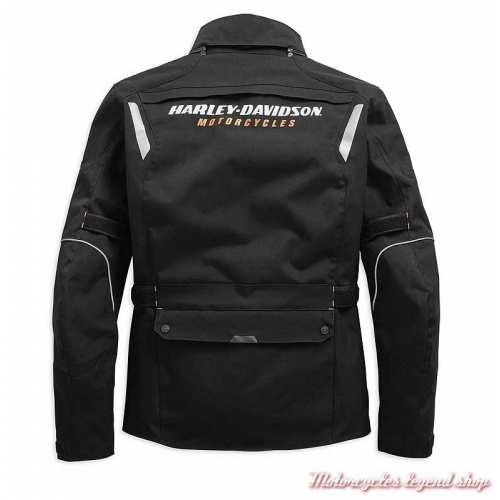 Veste 3/4 Baraboo Harley-Davidson homme, textile noir, homologué CE, dos, 98285-19EM