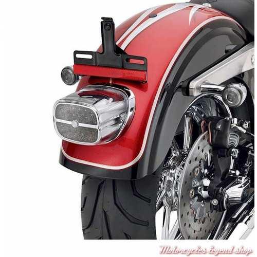 Feux arrière à LED Harley-Davidson, rouge, cuvelage chromé, visuel, 68086-08