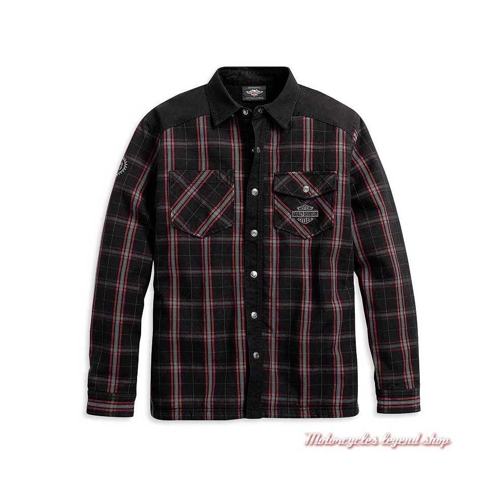 Surchemise à carreaux Fleece Sherpa Harley-Davidson homme, noir, rouge, coton, doublé polyester, 96112-20VM