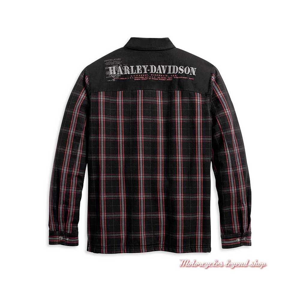 Surchemise à carreaux Fleece Sherpa Harley-Davidson homme, noir, rouge, coton, doublé polyester, dos, 96112-20VM