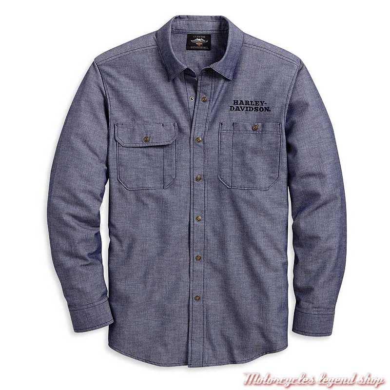 Chemise Herringbone Harley-Davidson homme, chevron, bleu denim, manches longues, coton, polyester, 96125-20VM