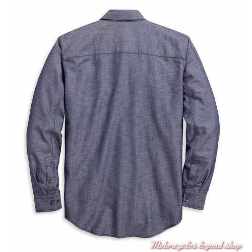 Chemise Herringbone Harley-Davidson homme, chevron, bleu denim, manches longues, coton, polyester, dos, 96125-20VM