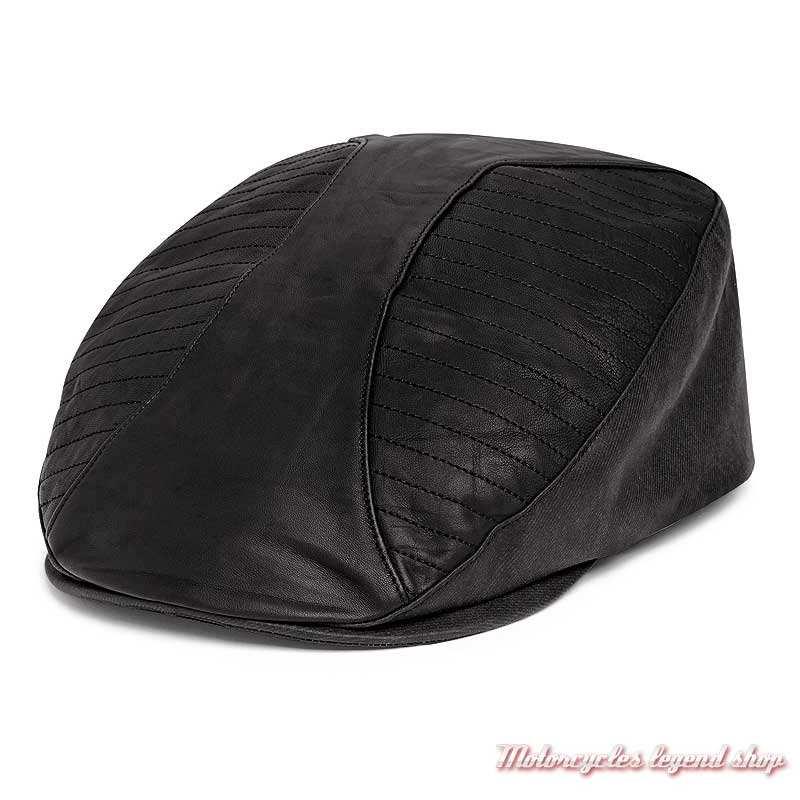 Casquette Ivy cuir agneau et toile enduite Harley-Davidson homme, noir, 97612-20VM