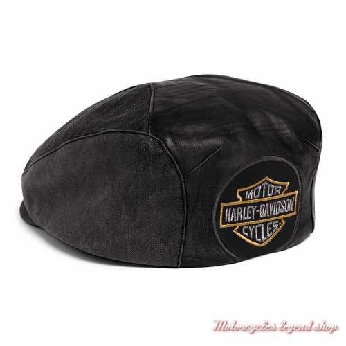 Casquette Ivy cuir agneau et toile enduite Harley-Davidson homme, noir, dos, 97612-20VM