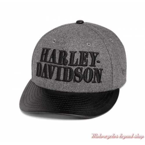 Casquette Wool Blend Harley-Davidson homme, laine grise, visière simili cuir noir, 97609-20VM