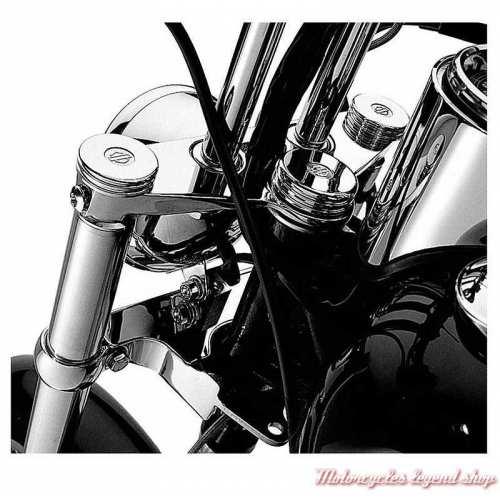 Caches écrous supérieurs de fourche chromés Bar & Shield Harley-Davidson, visuel, 46129-98B