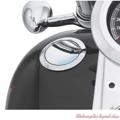 Bouchon de réservoir et jauge de carburant affleurant chromé Harley-Davidson, visuel, 62823-06