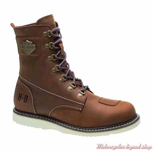 Chaussures Lottman Harley-Davidson homme, marron, lacets et zip, homologué CE,