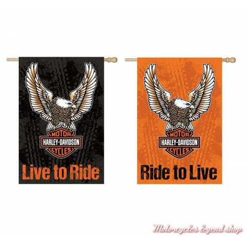 Drapeau décoratif Eagle Harley-Davidson, poly suédé, 2 faces, noir, orange, 13S4907FB