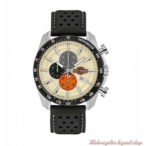 Montre Chrono Harley-Davidson vintage homme, à aiguilles, cadran crème, bracelet cuir noir perforé, 78B154