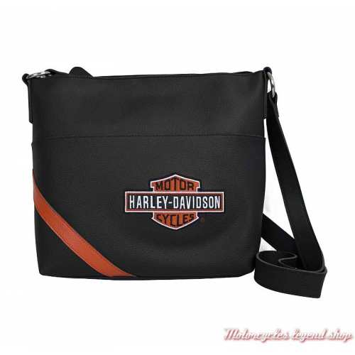 Sac à main Vintage Bar & Shield Harley-Davidson cuir noir, orange, VBS6214-OrgBlk