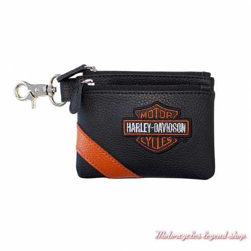 Porte monnaies B&S Harley-Davidson femme, zip, cuir noir, orange, VBS6281-OrgBlk