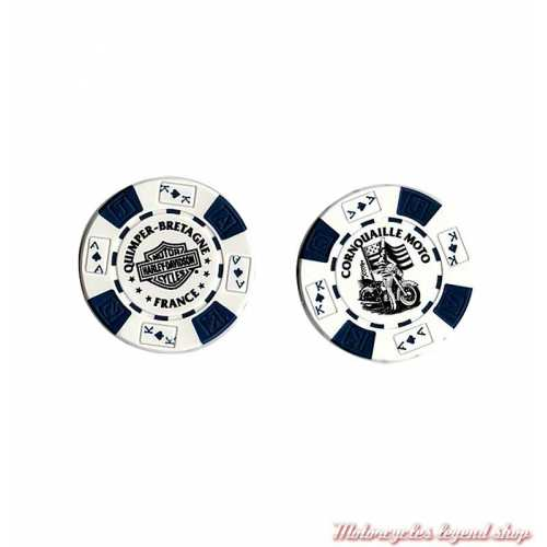 Jetons de Poker H-D Quimper blanc bleu 778301