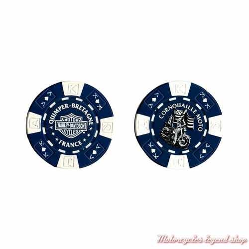 Jetons de Poker H-D Quimper bleu blanc 778350
