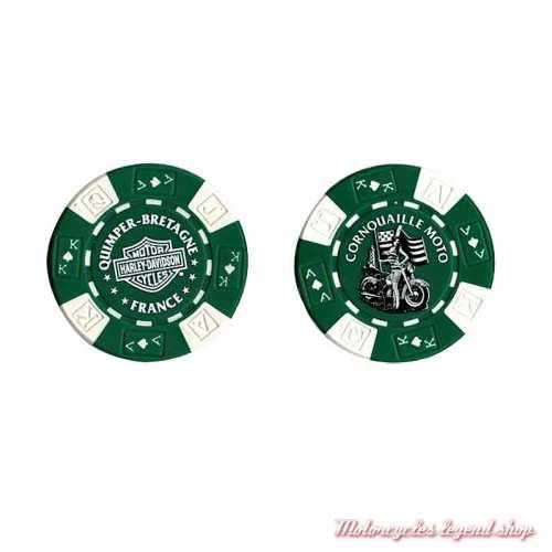 Jetons de Poker H-D Quimper vert blanc 778325