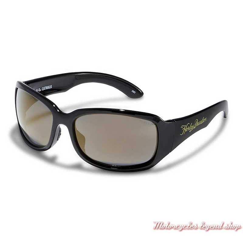 Lunettes solaire Catwalk Harley-Davidson femme, noir brillant, verres Gold Mirror, HACTW15