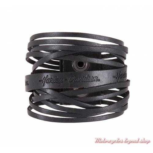 Bracelet Dare Diva Harley-Davidson femme, liens de cuir, noir, fermeture pression, HDWCU11557