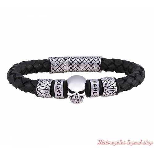 Bracelet cuir Skull Harley-Davidson homme