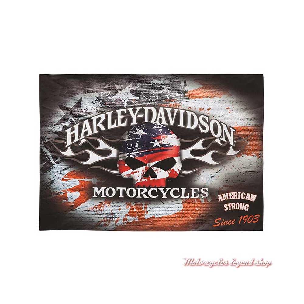 Drapeau décoratif Americana Harley-Davidson, skull Willie G., USA, 17S4906